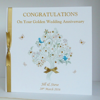 Golden Wedding Anniversary Card Personalised for Wife, Husband or Couple