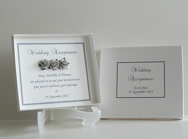 Wedding Acceptance with Box Personalised Any Colour Trim Available