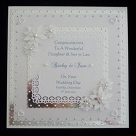 8x8 Wedding Day Card Personalised for son, Daughter, Niece, Nephew etc
