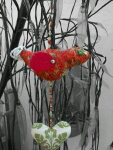 Hanging poppy field fabric bird and heart. Festival decorative free postage