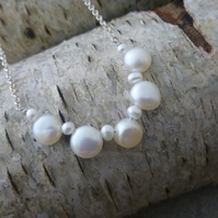 Coin pearl and chain silver necklace