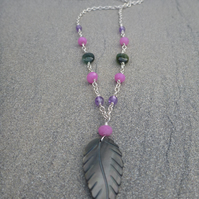 Mother of pearl carved leaf with semi- precious stones silver necklace.