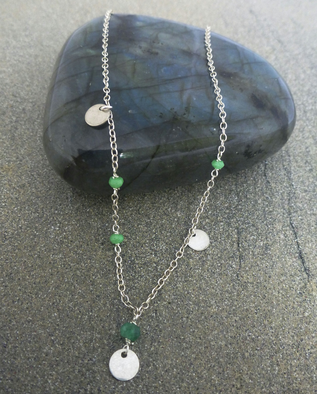 Dainty chain with discs and green agate