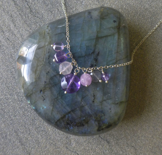 Amethyst Cluster silver necklace