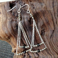 Pyrite and Onyx chandelier Earrings