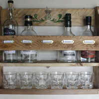 5 whiskey bottle & 6 tumblers storage rack