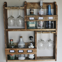 6 bottle gin & 4 goblet glasses storage rack