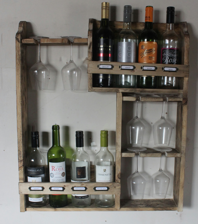 Wine rack, 8 bottles & 6 glass's