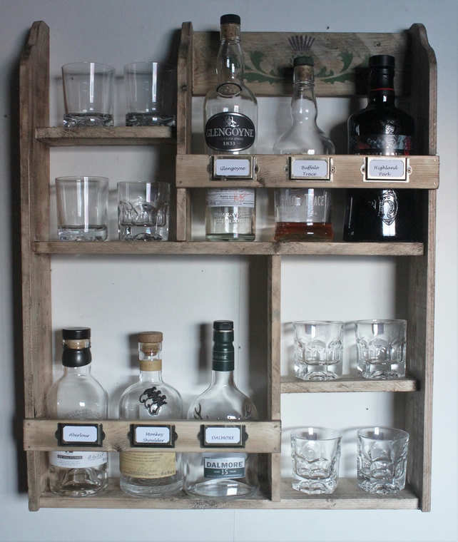 Whiskey rack, 6 bottles & 8 tumblers