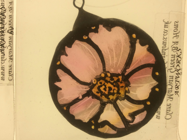 Wedding favours stained glass hand made pink flowers cosmos bridesmaid gifts