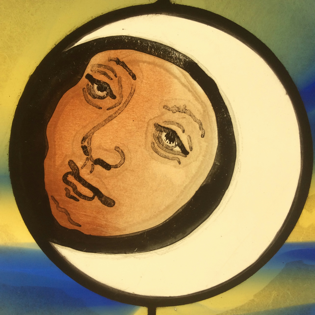 Stained glass New moon sun catcher man in the moon vintage glass gift
