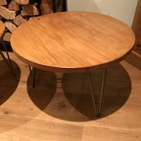 Solid oak handmade round coffee table 60cm round on hairpin legs