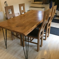 Handmade solid oak dining table wayney - live edge