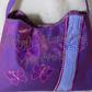 Small Purple Fabric Handbag, Applique, Pleated, Butterfly Purse