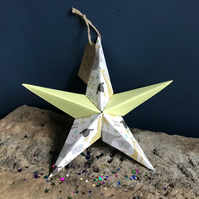 Hand made fold-out origami star -greeting card alternative