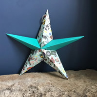 Hand made fold- out origami star & greeting card alternative