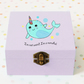 Narwhal cuteness box,personalised box,wooden box,jewellery box,accessories box