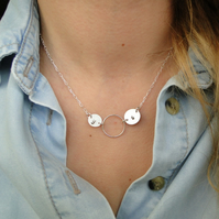 Personalized Stelring Silver Necklace with Circle - Two Initials