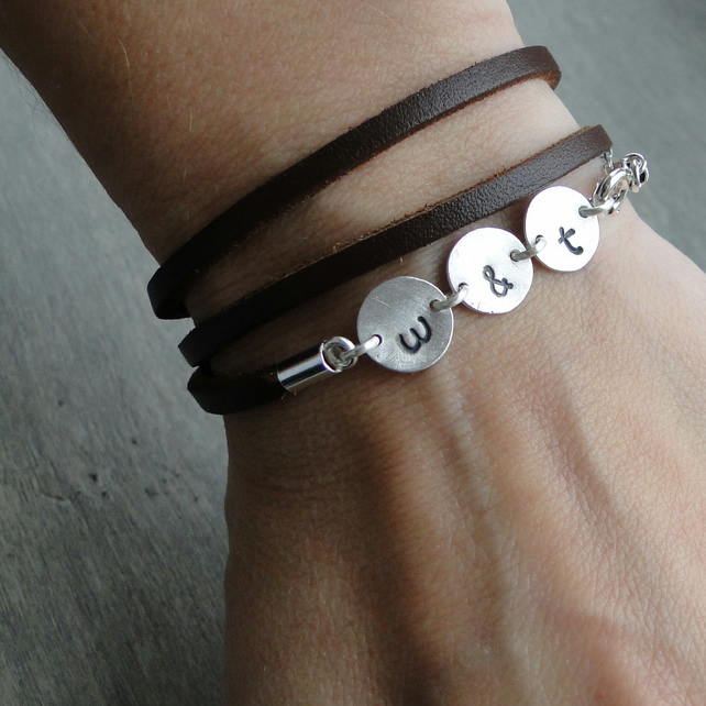 Triple Leather Bracelet - Personalised Sterling Silver Bracelet - Initials