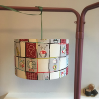 Pendant lampshade using original 1950s curtains 35cm diameter