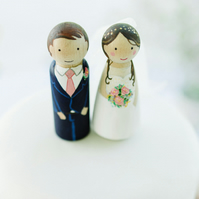 Wooden Peg Doll Wedding Cake Topper Bride and Groom