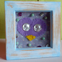 Felt Owl in Boxed Wooden Frame