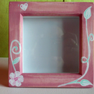 Painted Wooden Box Frame with Flower and Heart