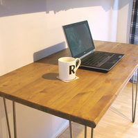 Bespoke handmade wooden table desk. 120cm x 60cm. Industrial retro, hairpin legs