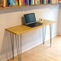 Bespoke handmade wooden table desk. 120cm x 40cm. Industrial retro, hairpin legs