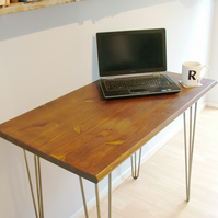 Bespoke handmade wooden table desk. 90cm x 50cm. Industrial retro, hairpin legs