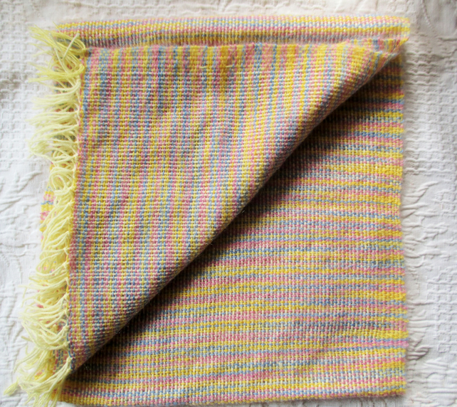 Hand Woven Angora Scarf, primrose yellow with touches of lavender and rose.