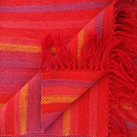 Hand Woven Wool Scarf Red Rainbow