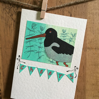 "Oystercatcher Greetings Card - ""Cheers"""