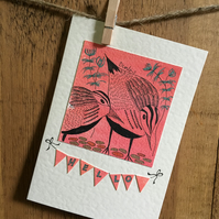 "Dunlins Greetings Card - ""Hello"""