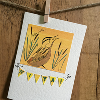 "Bird Card- Sedge Warbler Greetings Card - ""Hi ya!"""