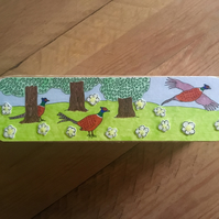 Wooden Pencil Case Box, Decorative Box, Bird Lovers Gift, Gifts for children