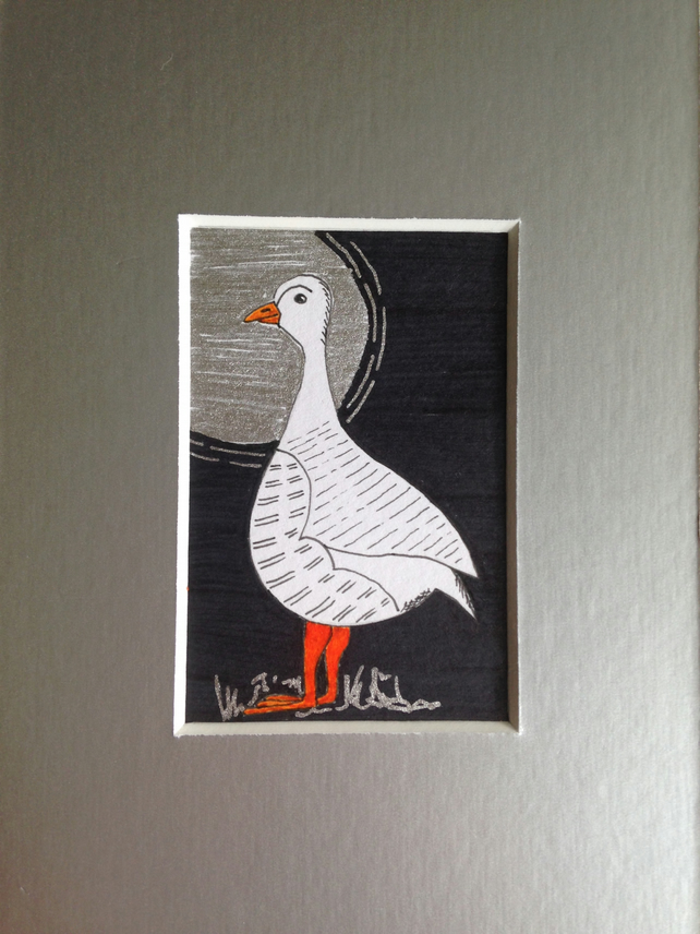 A Moonlight Stroll.. Miniature Goose Original Art