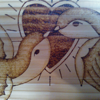 Pyrography Sailor Jerry Style Lovebirds Swallows Plaque