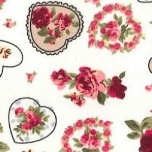 Shabby Chic Fabric - Heart Style - By The Metre - Quilting Vintage