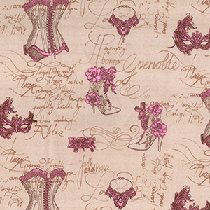Shabby Chic Fabric - Vintage Corset Style - By The Metre - Quilting Antique