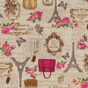 Shabby Chic Fabric - Beige Eiffel Tower Paris Design- By The Metre - Quilting