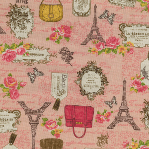Shabby Chic Fabric - Pink Eiffel Tower Paris Design- By The Metre - Quilting