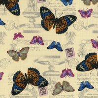 Shabby Chic Fabric - Beige Butterfly Design- By The Metre - Quilting