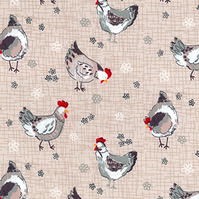 Shabby Chic Fabric - Farmhouse Hen Design - By The Metre - Country Chicken