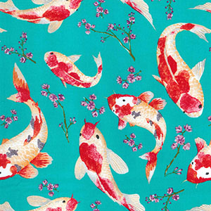 Shabby Chic Fabric - Turquoise Blue Oriental Koi Fish - By The Metre