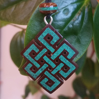 Tibetan Endless Knot Coconut Shell & Malachite Hand Carved by Tibetan Artist