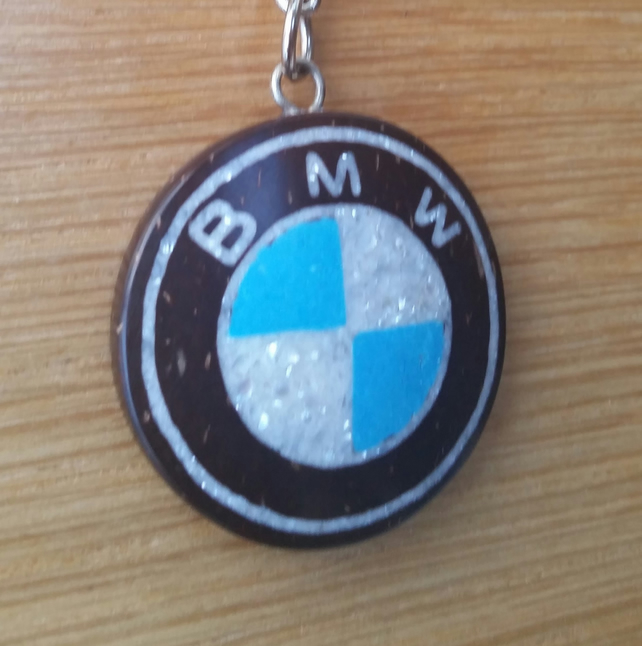 BMW Key Ring Hand Carved Coconut Shell Inlay Crushed Pearl & Turquoise