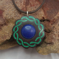 Coconut Shell with Lapis Lazuli and Crushed Malachite Inlay Necklace Jewelry