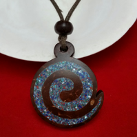Energy Swirl Coconut Shell Necklace Inlay Pearl Malachite Turquoise Lapis Jasper