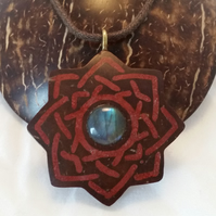 Celtic Knot Hand Carved Necklace Coconut Shell Red Jasper StoneLabradorite